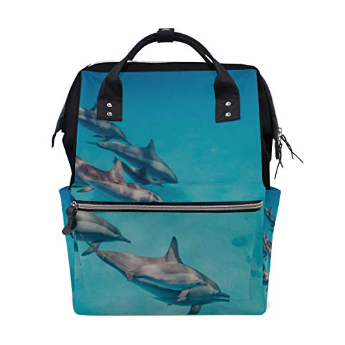 Springen glücklich aufgeregt Delphin große Kapazität Windel Taschen Mummy Rucksack Multi Funktionen Wickeltasche Tasche Tote Handtasche für Kinder Babypflege Reise tägliche Frauen