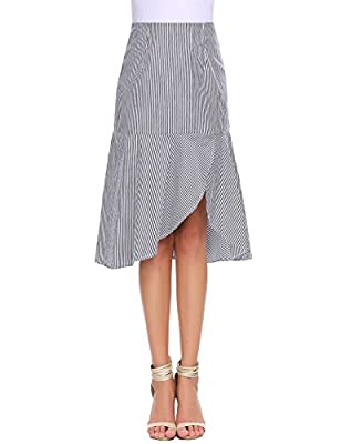 Zeagoo Women's Vertical Stripe Side Slit Ruffle Hem A-Line Midi Skirt