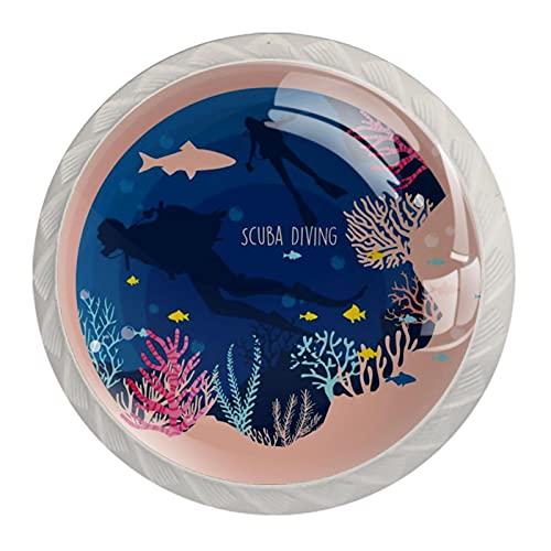 Redondo Blanco pomos Buceo submarino para muebles de habitación infantil, para habitación infantil, armarios, cajones, baúles (4pcs) 35mm