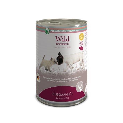 Herrmanns Ergänzungsfutter für Hunde und Katzen Wild 100% Reinfleisch, 400 g