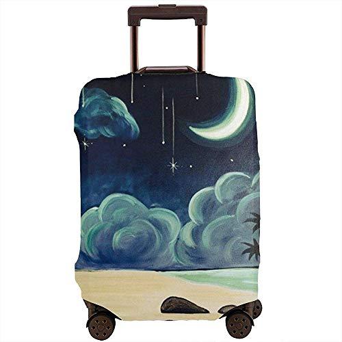 Carneg Reisegepäck-Abdeckung Kreative Illustration der Strand-Kunst unter der Nachtkoffer-Abdeckungs-Schutzvorrichtung passt 22-24 Zoll-Gepäck-Gepäckabdeckung