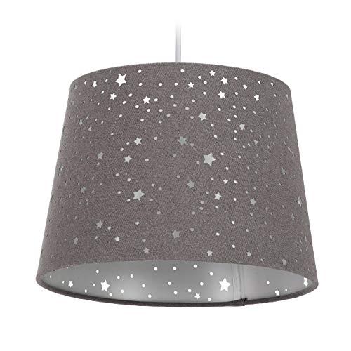 Relaxdays Kinderzimmerlampe Sterne, hängende Schirmlampe, Jungen & Mädchen, Sternenhimmel, E27, runder Stoffschirm, grau, 10028042_111