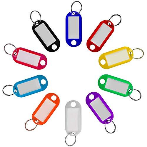 20 Pack Robust Kunststoff Schlüsselanhänger beschriftbar, Schlüsselanhänger zum Beschriften mit Split Ring Label Fenster, 10 Farben