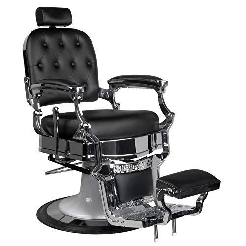 GABBIANO ERNESTO - Poltrona da barbiere BarberPub Poltrona reclinabile idraulica Salone di bellezza, colore: nero