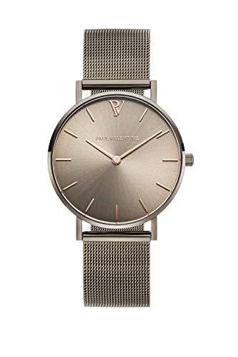PAUL VALENTINE ® Damenuhr mit Mesh Armband - 32, 36 oder 38mm - Edle Damen Uhr mit japanischem Quarzwerk - Spritzwassergeschützt - Armbanduhr für Damen (36mm, Khaki Mesh)