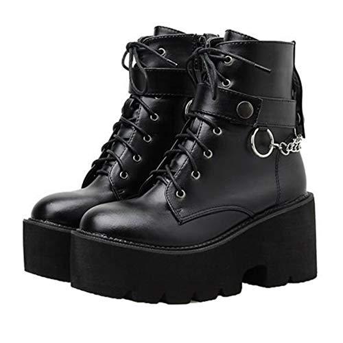Mode Frauen Motorrad Stiefel Runde Zehen Schnürung Quadrat High Heels Herbst Winter Metallkette Punk Platform Ankle Boots