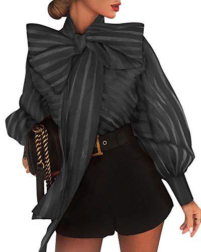 MAHUAOYIXI Blusa de mujer de manga larga con cuello de lazo a rayas para mujer blusa elegante sexy mujer moda blusa mujer blusa mujer camiseta mujer camisa slim, Negro , S