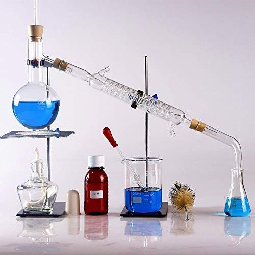 Equipo de cristalería purificador de destilación de laboratorio con condensador Instrumento de vidrio de borosilicato Experimento químico Unidad de destilación Frasco de destilación Purificación de vi