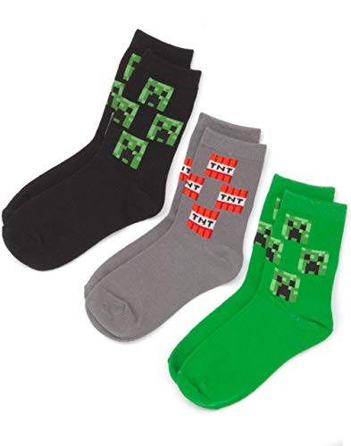 Vanilla Underground Minecraft Creeper Face Assorted 3 Pack Grey Green Black Boy's Kids Socks