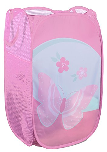Mesh Popup Laundry Hamper - Portable, Durable Handles, Collapsible for Storage and Easy to Open. Folding Pop-Up Clothes Hampers are Great for The Kids Room, College Dorm or Travel. (Butterfly)