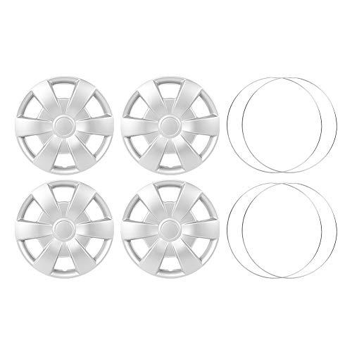 Cubiertas de rueda a presión, chapado en material ABS 4 unids/set 15 pulgadas tapacubos pieles de rueda cubierta de llanta plata coche decorativo Auto piezas modificadas(Type B)
