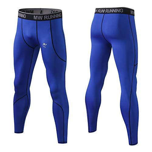 MeetHoo Leggings Uomo, Sportive Calzamaglie Pantaloni Compressione Baselayer Fitness Running Tights per Jogging Ciclismo Palestra Gym (Blu, L)
