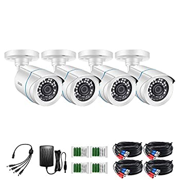 ZOSI 4 Pack 2MP 1080p HD-TVI Home Security Camera Outdoor Indoor 1920TVL,24PCS LEDs,80ft Night Vision 90°View Angle Weatherproof Outside Surveillance CCTV Bullet Camera