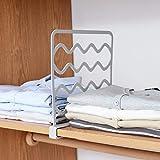 MoreSHOW Divisores de estantes de plástico de 2 Piezas, armarios,estanterías de Cocina,organización para organizar estantes de Ropa,Libros,Toallas y Sombreros,Gris