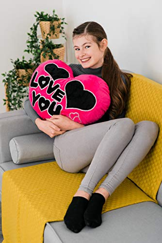 """Costello® - Cojín con forma de corazón y texto en inglés """"I Love You"""", tamaño XL, 50 cm, color rojo y rosa"""