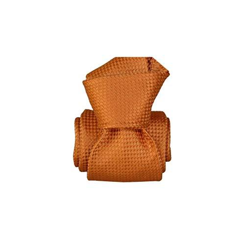 Segni et Disegni. Cravate artisanale. Confection main, Soie. Orange, Uni. Fabriqué en Italie.