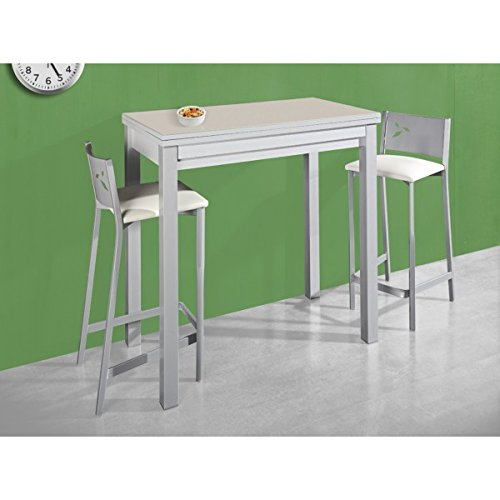 SHIITO - Mesa de Cocina 90x50 cm Extensible con Dos alas y Tapa en Cristal