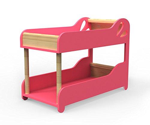 MOOVER Designer Puppenbett aus Holz - Puppenhochbett - in rosa - 52 cm!