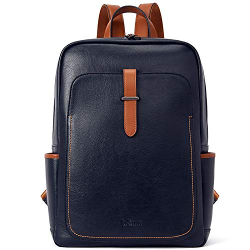 BROMEN Leather Laptop Backpack for Women 15.6 inch Computer Backpack College Travel Daypack Bag Navy