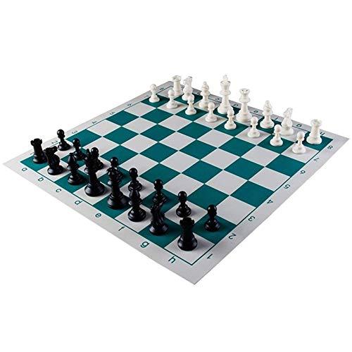 LEILEI Tablero de ajedrez Juego de ajedrez de Torneo - 90% Piezas de ajedrez rellenas de plástico y Juego de Tablero de ajedrez de Vinilo Enrollable Verde para niños Adultos(tamaño:43x43cm Rey 77 m