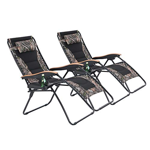 PHI VILLA Oversize XL Padded Zero Gravity Lounge Chairs Adjustable Recliner with Cup Holders Support 350lbs-2 Pack (Camouflage)