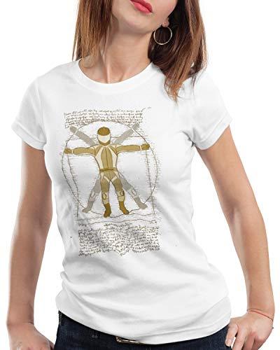style3 Motociclista Vitruviano T-Shirt da Donna Biker centauro Motociclo, Colore:Bianco, Dimensione:L