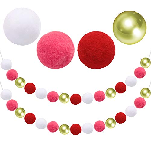 Aneco Valentine's Day Felt Ball Garland Valentines Red Pink White Gold Ball Garland Decorations 30 Balls Valentines Hanging for Tree Fireplace and Wall