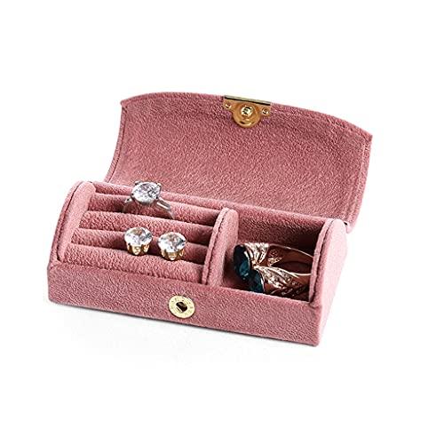 QIFFIY Caja de joyería de Flip 10 * 5 * 3.5 cm, Pendientes para Hombres y Mujeres Anillos Pendientes Joyas Cajas de Almacenamiento, Cajas de exhibición de Joyas (Azul) (Color : Pink)