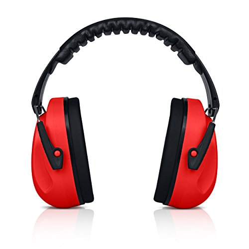 HEARTEK Kids Ear Protection Noise Reduction Children Protective Earmuffs – Sound Cancelling Hearing Muffs for Toddler, Baby, Infants – Adjustable, Foldable with Travel Bag - Red