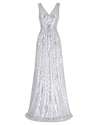 Sleeveless Maxi Sequin Silver Gown