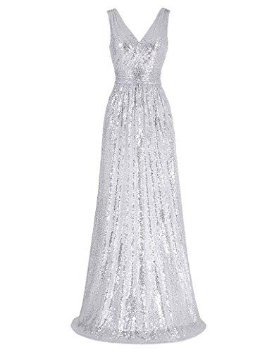 Kate Kasin Womens Sleeveless Deep V Neck Dress Long Party Dresses Silver Size 2 KK199