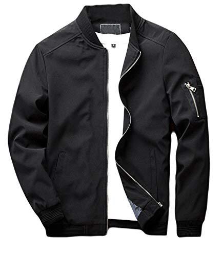 sandbank Men's Slim Fit Lightweight Softshell Flight Bomber Jacket Coat (US XS, Black #2)