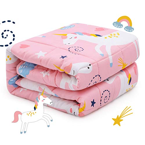 Sivio Kids Weighted Blanket, 3lbs, 36 x 48 inches, 100% Natural Cotton Heavy Blanket for Kids and Teens, Pink Unicorn
