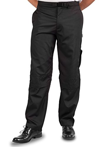 KNG Mens Vented Active Chef Pant, Black, M