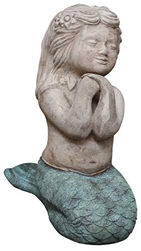 Dehner Dekofigur Meerjungfrau sitzend, ca. 28 x 40 x 18 cm, Terrakotta, Hellbraun/türkis