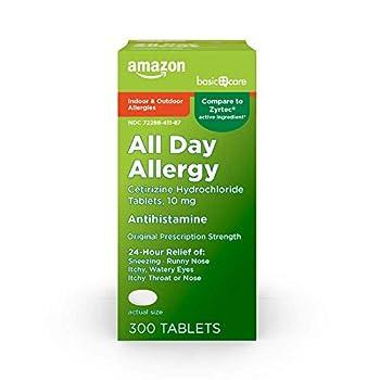 Amazon Basic Care All Day Allergy Cetirizine Hydrochloride Tablets 10 mg Antihistamine 300 Count