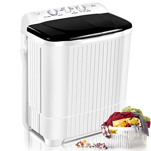 Portable Washer Machine Nictemaw 21.5lbs Compact Twin Tub Washer, Mini Washer(13.5lbs)&Dryer(8lbs) Semi-Auto with Time Control Function for Home/Apartments/Dorms/RV (Black)