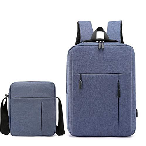 BZN - Set di borse da viaggio portatili da uomo + borsa a tracolla impermeabile per studenti, borsa per computer (colore blu)