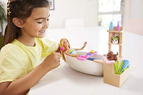 Barbie Muñeca Barbie y su Bañera de Burbujas, juguete regalo para niños y niñas (Mattel GJN32)
