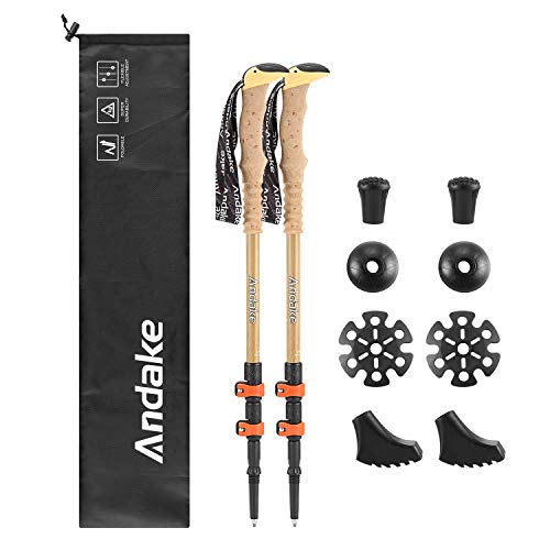 Andake Ultralight Trekking Pole, Aircraft-Grade 7075 Aluminum Anti-Shock Walking Sticks with All Terrain Accessories and Carry Bag, Collapsible for Hiking, Mountaineering, Camping (1P)