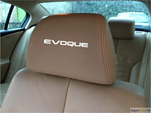 SUPERSTICKI 5X Evoque Range Rover Schriftzug Logo Kopfstützen Aufkleber für Kopfstütze Sitze Handschufach Lack Tuningsticker Decal Decals geplottet Hochleistungsfolie oder Scheibe Headrest 15cm