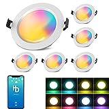 Juego de 6 focos LED empotrables de 15 W y 1200 lm, WiFi, Bluetooth, RGBW+CCT, 5 en 1, intensidad regulable, 230 V, para techo, salón, cuarto de baño