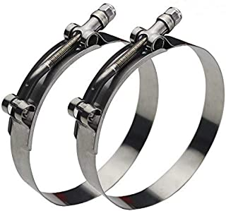 Ronteix Full 304 Stainless Steel Adjustable Hose Clamp Lock Nut T-Bolt Clamps (83~91mm, 2 Pack) for 3'' Hose