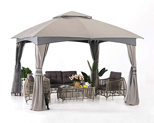 ABCCANOPY 10' x 10' Gazebos Patio Garden Gazebo with Mosquito Netting,Double Soft-top (Light Gray)