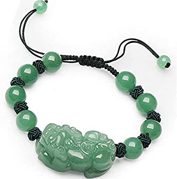 FLYAND Feng Shui Wealth Bracelet for Women Aventurine Jade Pixiu Pi Yao Cyan Jade Bead Woven Bracelet Pineapple Knot Adjustable for Good Fortune Courageous Lucky and Wealth,12MM  Size   12MM