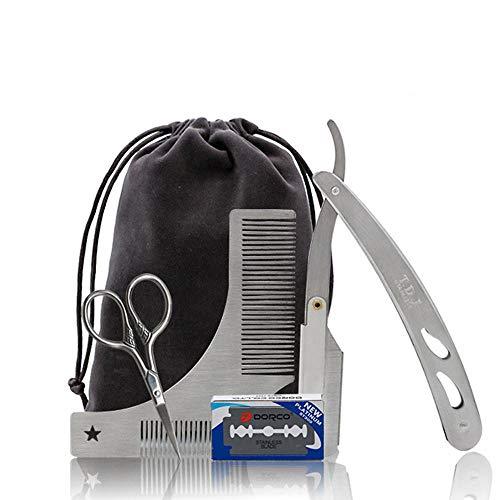 leegoal Edelstahl-Bartpflegeset für Männerpflege, Professional Bart-Formungswerkzeug-Kit mit Bartkamm, Schnurrbartschere, Rasiermesser, Austauschbare Klinge