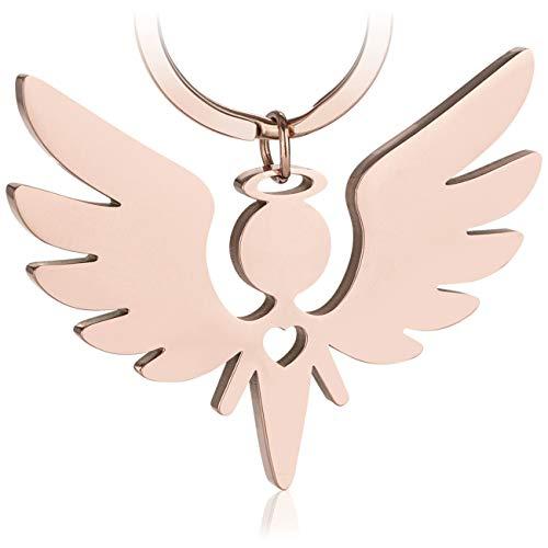 Premium Schutzengel Schlüsselanhänger von VULAVA - der edle Engel Anhänger u. Glücksbringer mit Herz ist die Geschenk Idee für Kinder Partner Führerschein Auto u. Motorrad Fahrer (Roségold)