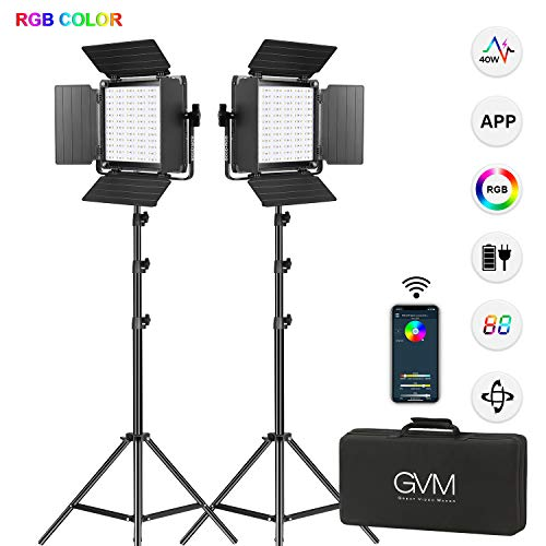 GVM RGB LED Videoleuchte mit Stativ, APP Fernbedienung 360 ° RGB Vollfarbausgabe Fotografie Beleuchtung, 800D LED Studio Video Licht für YouTube Fotografie/led Video Lighting kit/led Video Lights RGB