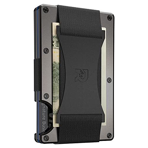 The Ridge Wallet Authentic | Minimalist Metal RFID Blocking Wallet with Cash Strap | Wallet for Men | RFID Minimalist Wallet, Slim Wallet (Gunmetal)