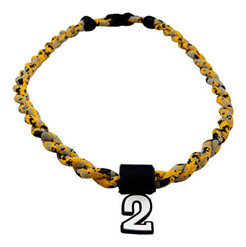 Pick Your Number - Twisted Titanium Sports Tornado Necklace (Yellow Digi Camo)